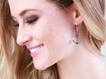 KC signature anchor hook earrings silver