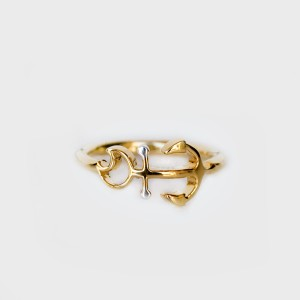 Kimmie Carter Classic Anchor Ring - Gold with Silver balls