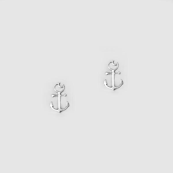 Kc Anchor Stud Earrings Silver
